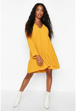 Dam Mustard Woven V-neck Tierred Smock Dress