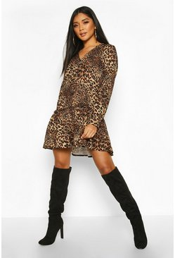 Womens Leopard V-neck Drop Hem Smock Dress