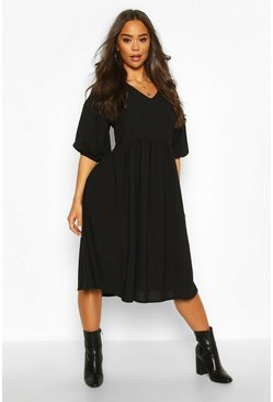 Womens Black Woven V-neck Oversized Midi Smock Dress