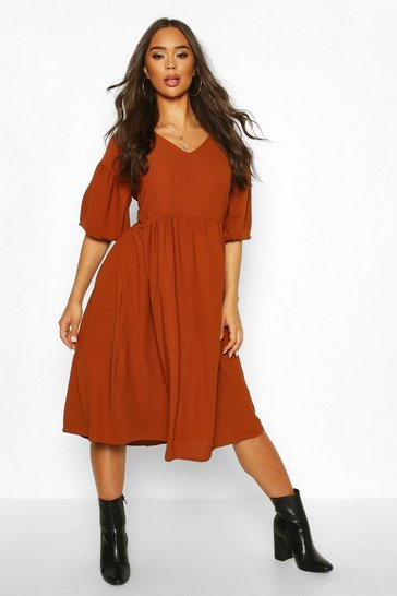 Womens Rust Woven V-neck Oversized Midi Smock Dress