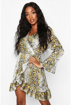 Brown Satin Snake Print Ruffle Tea Dress