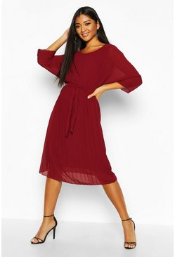 Berry Pleated Batwing Tie Waist Midi Dress
