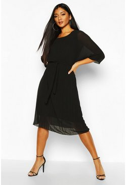 Black Pleated Batwing Tie Waist Midi Dress