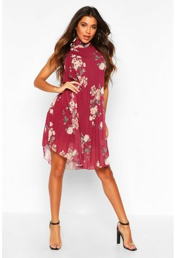 Berry Floral Print Pleated Shift Dress