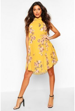 Mustard Floral Print Pleated Shift Dress