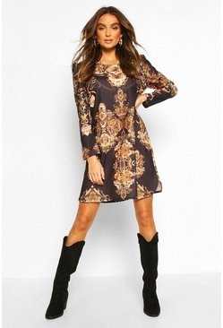 Womens Black Chain Print Shift Dress
