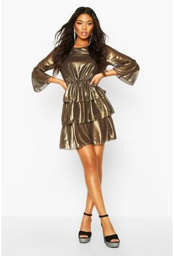 Womens Gold Metallic Tierred Flute Sleeve Skater Dress