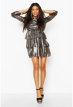 Womens Silver Metallic Tierred Flute Sleeve Skater Dress