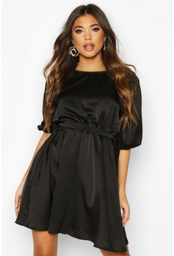 Black Satin Tie Waist Puff Shoulder Skater Dress