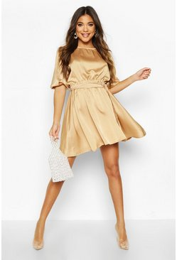Womens Gold Satin Tie Waist Puff Shoulder Skater Dress