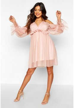 Womens Rose Organza Ruflle Detail Skater Dress