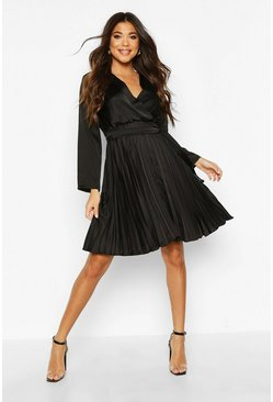 Black Satin Wrap Pleated Mini Dress