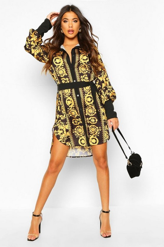Womens Black Chain Print Shirt Dress