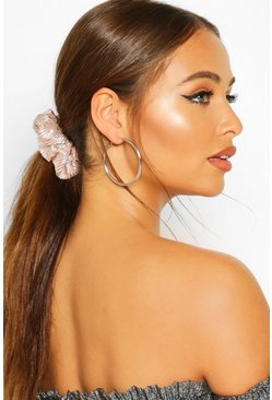 Womens Silver 2 Pack Metallic Scrunchie