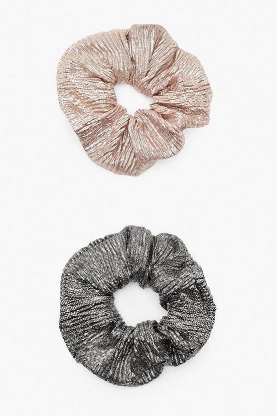 2 Pack Metallic Scrunchie