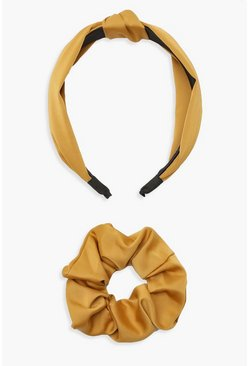 Womens Mustard Scrunchie & Twist Knot Headband Pack