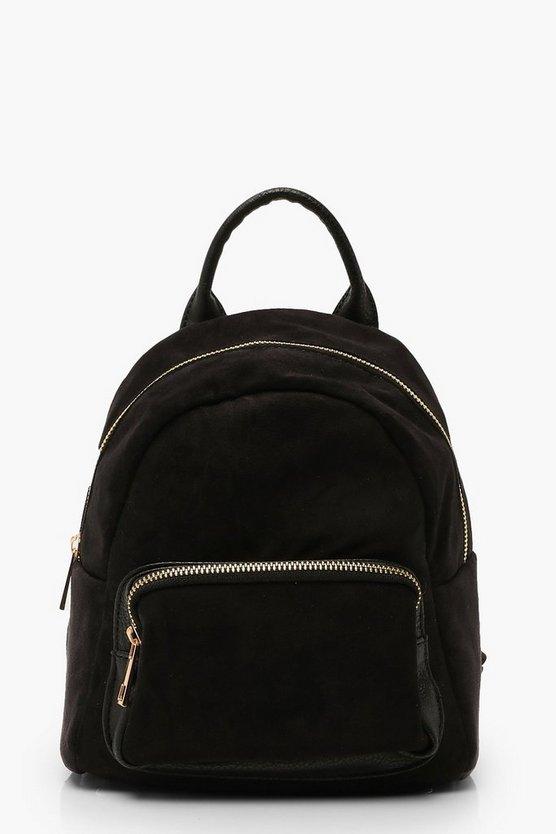 Mini Suedette Front Pocket Rucksack