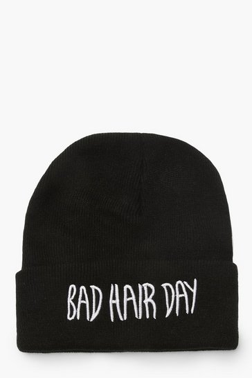 Black Bad Hair Day Beanies