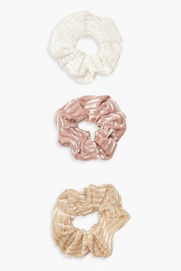Womens Multi 3 Pack Ribbed Velvet Scrunchie