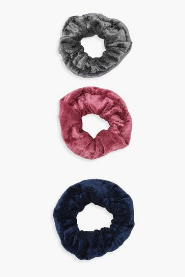 Womens Multi 3 Pack Velvet Scrunchie
