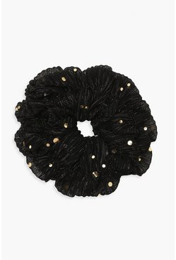 Womens Black Gold Speckle Mesh Scrunchie
