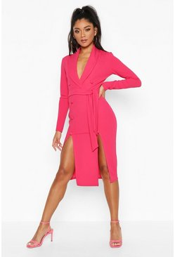 Womens Hot pink Button Detail Belted Midi Blazer Dress