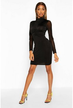 Womens Black Mesh Turtle Neck Bodycon Mini Dress