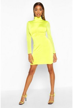 Womens Neon-lime Mesh Turtle Neck Bodycon Mini Dress