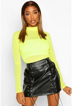Womens Neon-lime Mesh Turtle Neck Top
