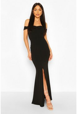 Black Bardot Split Front Maxi Dress