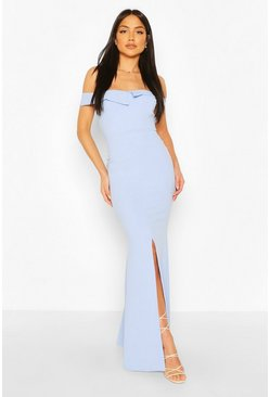 Powder blue Bardot Split Front Maxi Dress