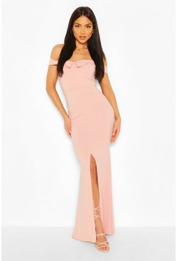 Soft pink Bardot Split Front Maxi Dress