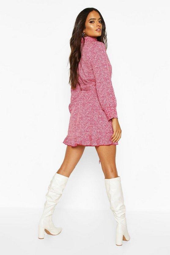 Spot Shirred High Neck Skater Dress