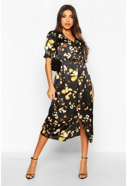 Black Satin Leopard Button Detail Midi