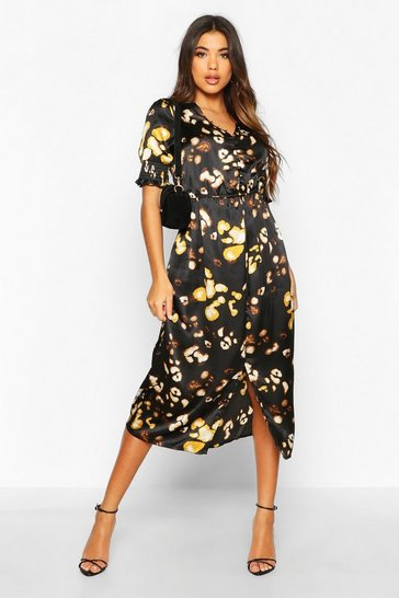 Womens Black Satin Leopard Button Detail Midi