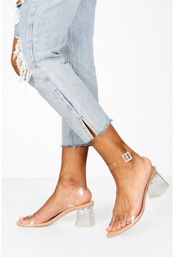 Dam Nude Low Clear Block Heel 2 Parts