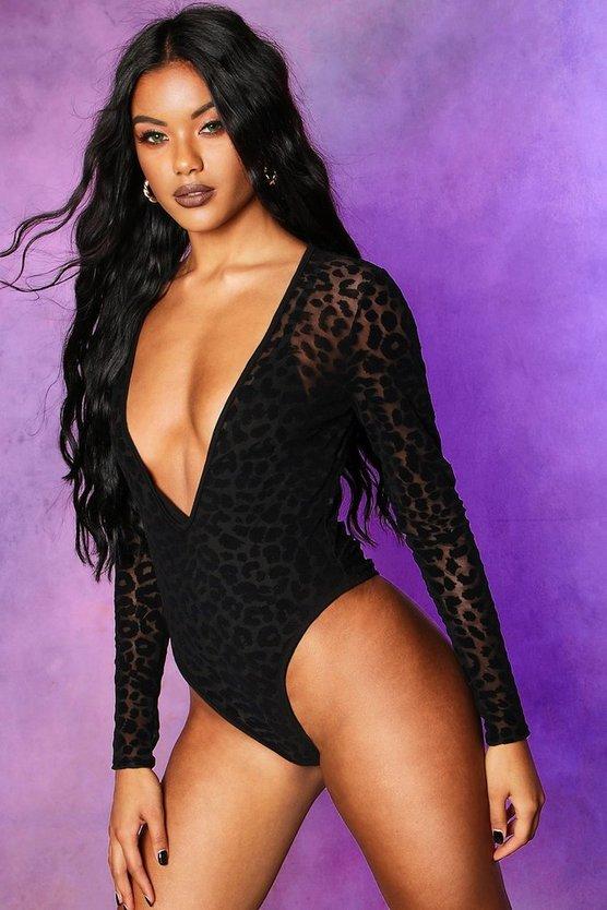 Halloween Leopard Mesh Plunge Bodysuit