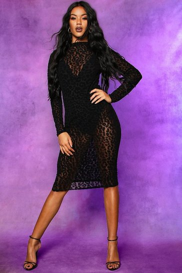 Womens Black Halloween Leopard Mesh Bodycon Midi Dress
