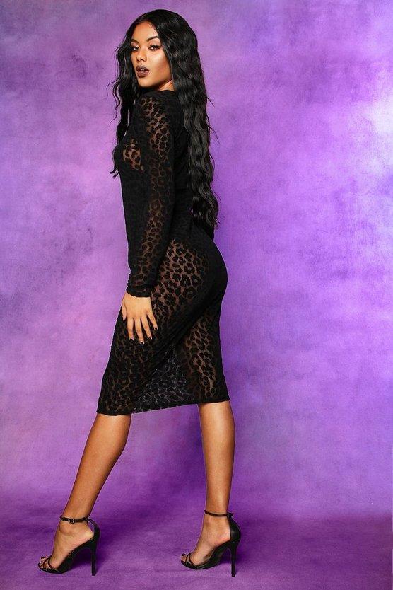Halloween Leopard Mesh Bodycon Midi Dress