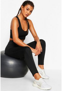 Womens Black Fit High Waist Pocket Detail Gym Leggings