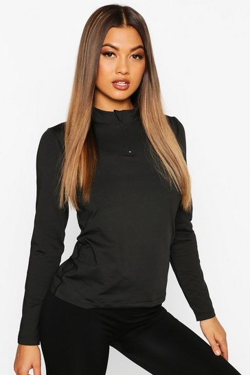 Womens Black Fit Long Sleeve Zip Up Gym Top