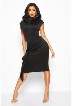 Womens Black Cowl Neck Pleat Midi Dress