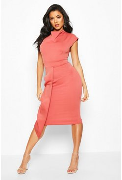 Womens Rose Cowl Neck Pleat Midi Dress
