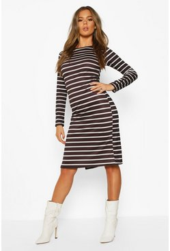 Womens Black Stripe Long Sleeve Split Midi T-shirt Dress