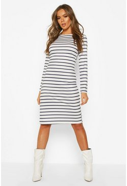 Womens White Stripe Long Sleeve Split Midi T-shirt Dress