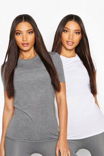 Womens Charcoal Fit 2 Pack Gym T-shirts