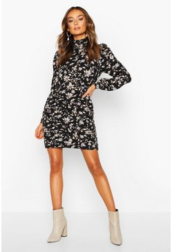 Black High Neck Floral Pleated Mini Dress