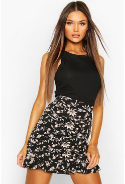 Floral Pleated Ruffle Mini Skirt