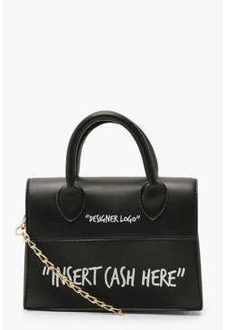 Womens Black Insert Cash Here Slogan Structured Cross Body Bag