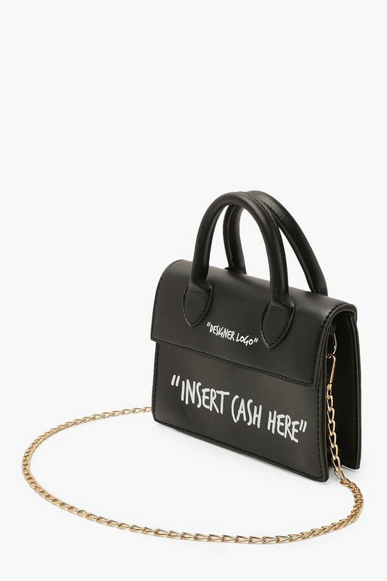 Insert Cash Here Slogan Structured Cross Body Bag